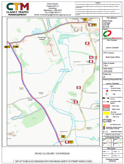 Alfold Road Diversion Route